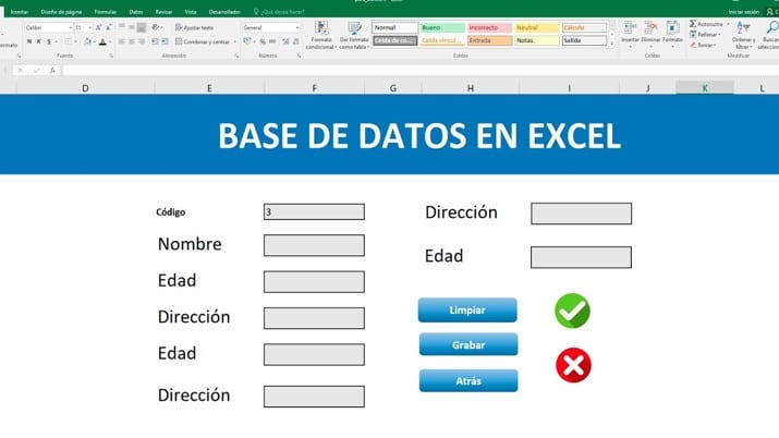 base de datos en excel el tio tech