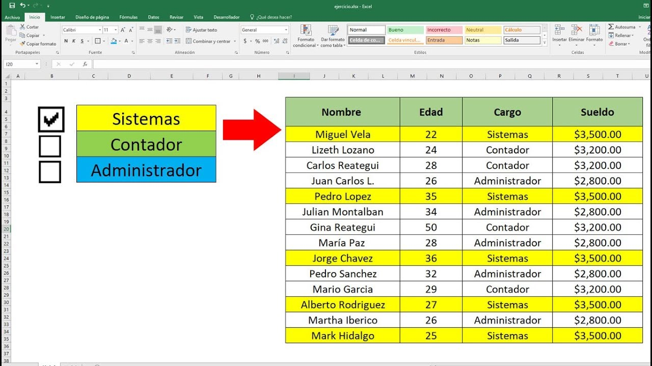 Interfaz de excel con un checklist asignado a una tabla con datos