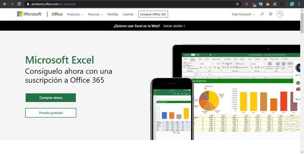 Página web de Office para descargar microsoft excel
