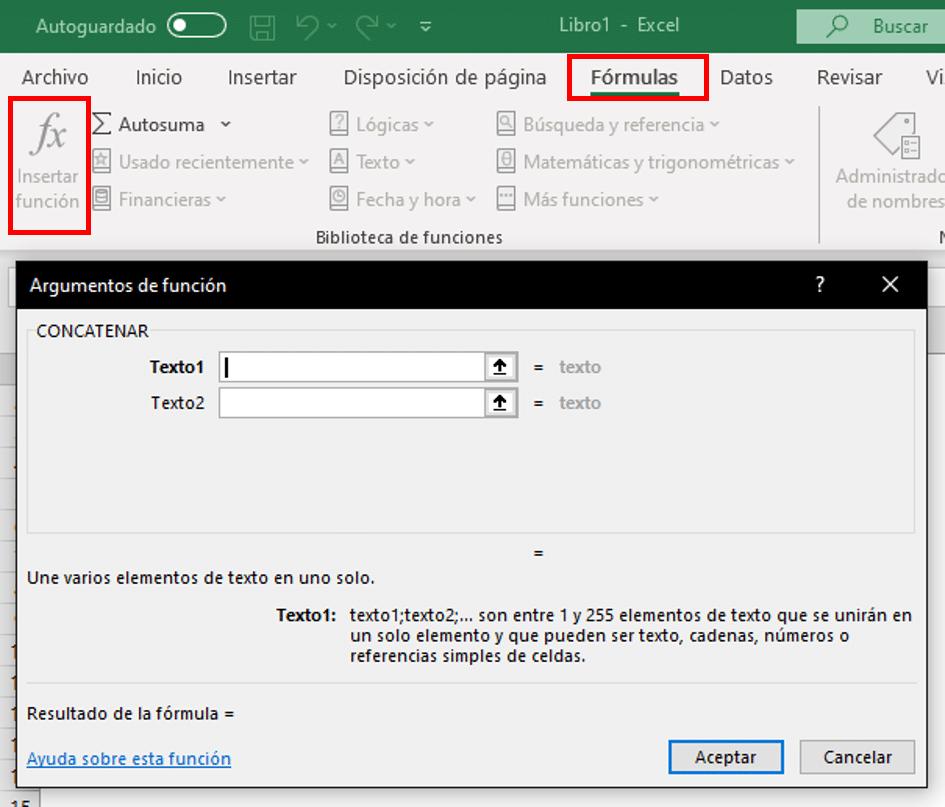 Opción de insertar fórmula en Excel