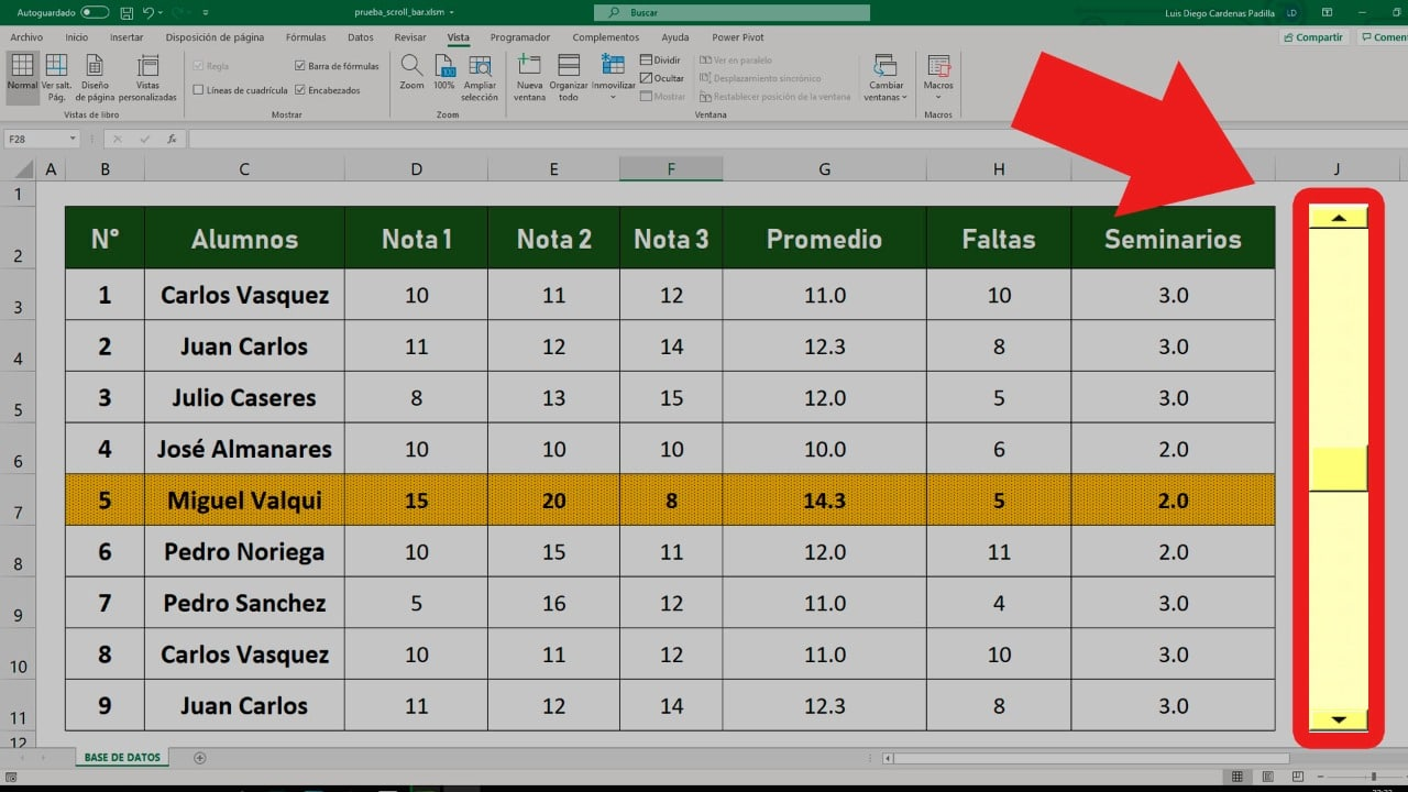 Miniatura de excel sobre la barra de desplazamiento con formato condicional