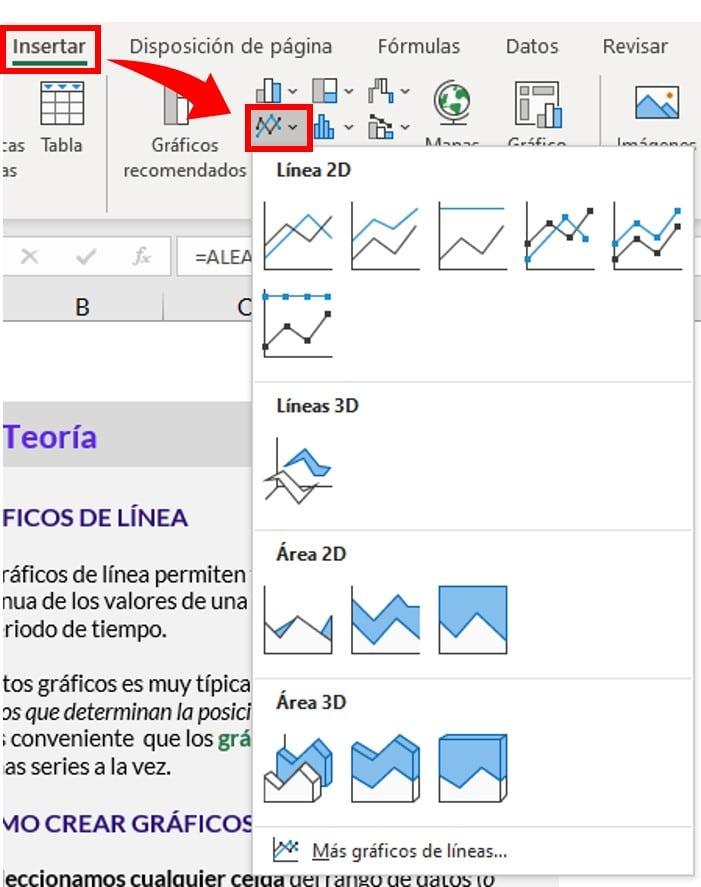 menú de gráficos lineares y de áreas en excel