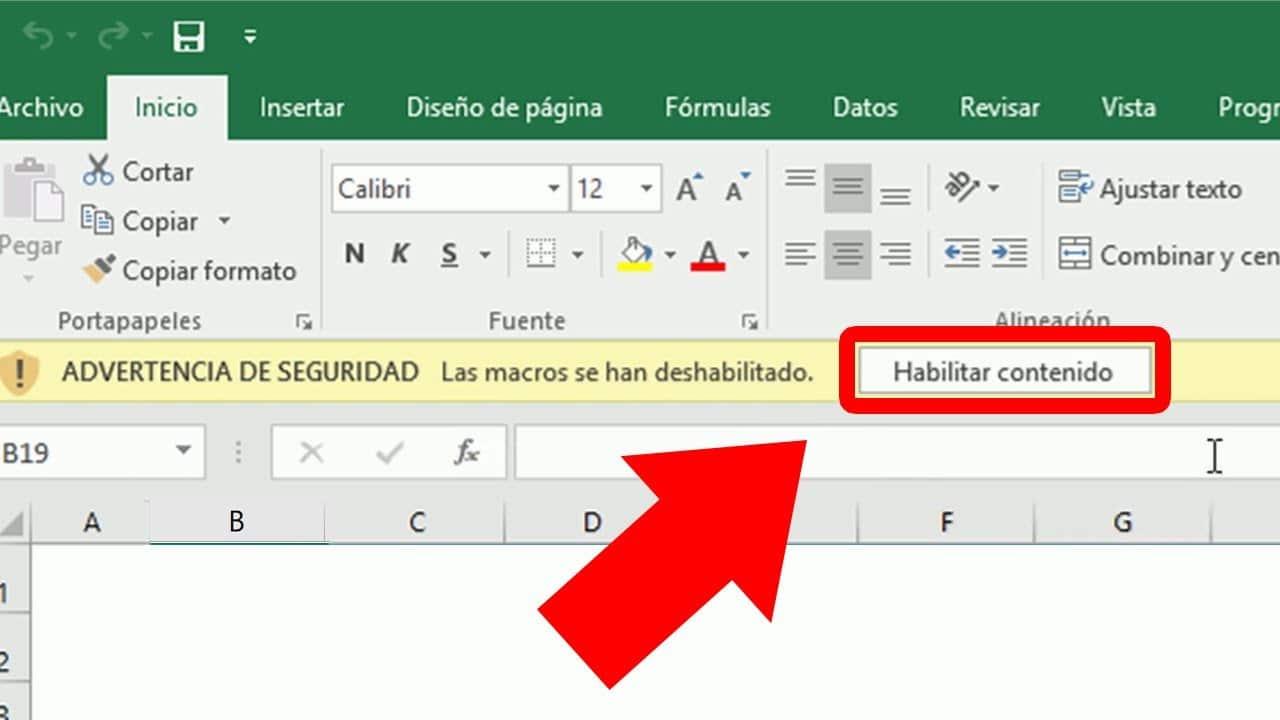 Habilitar todas las macros de Excel (Advertencia de seguridad)