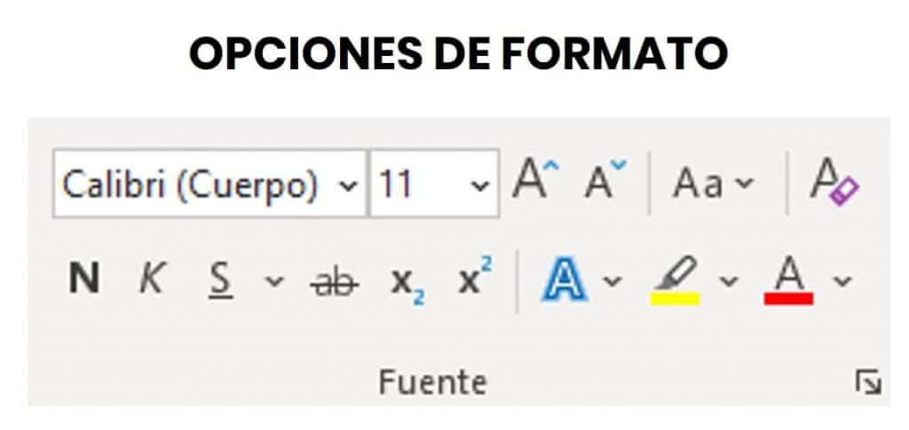 opciones de formato en word