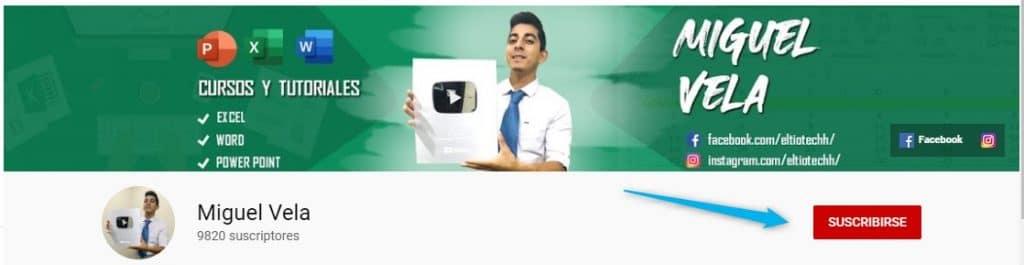 Canal Miguel Vela en Youtube