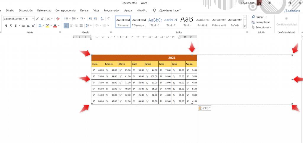 Imagen referencial de cómo ajustar la tabla