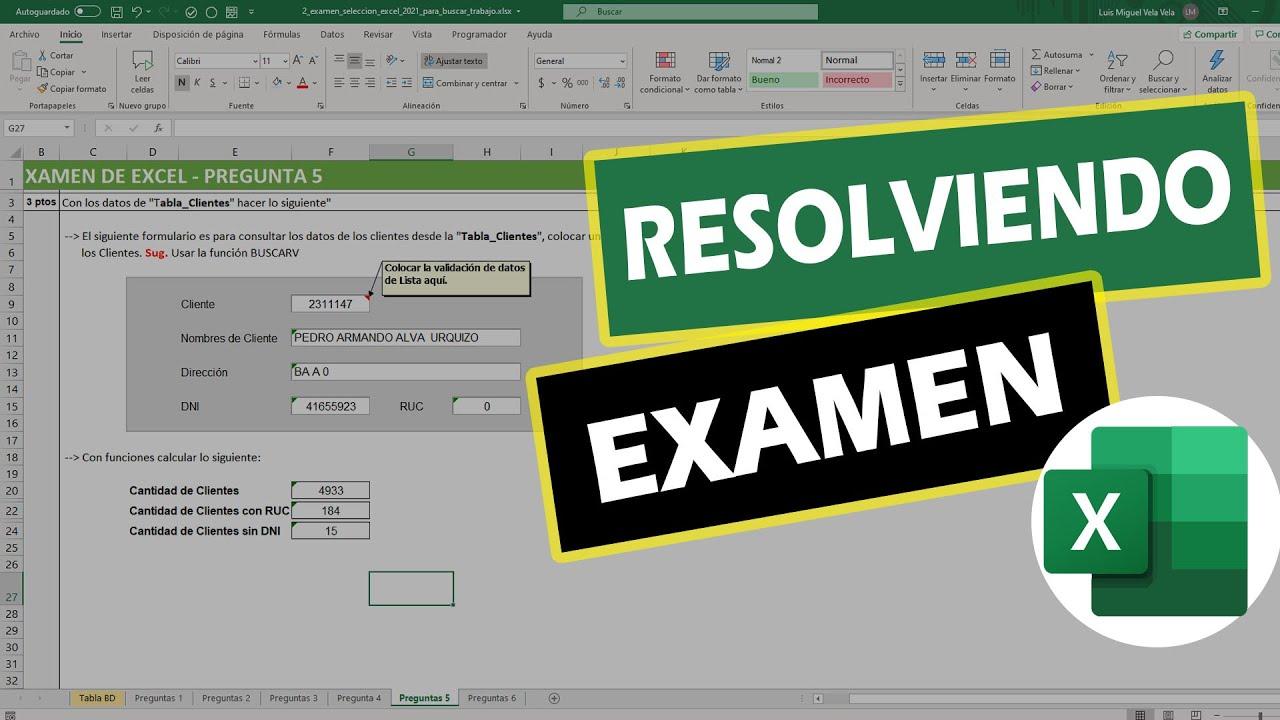 Cómo resolver un Examen de Excel nivel Intermedio (Parte 2)