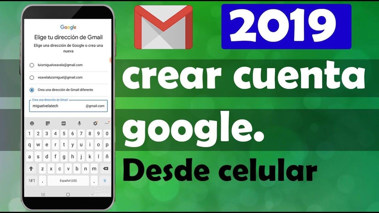 celular con texto que dice Crear cuenta de Google desde el celular