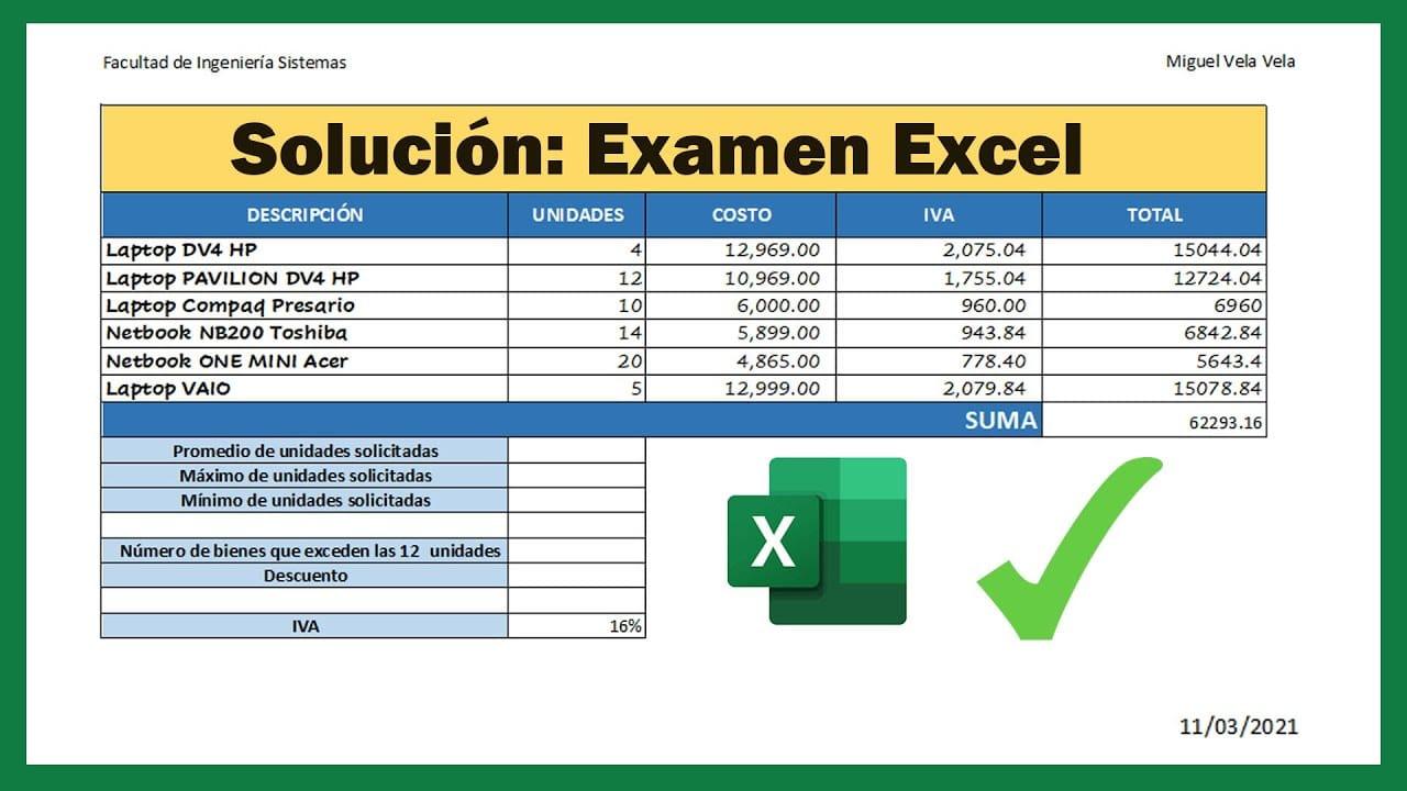 Resolución: Examen de Excel nivel Básico