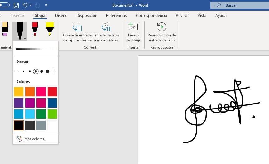 firma manuscrita en word con la herramienta dibujar