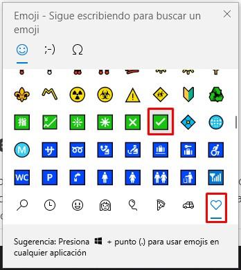 Simbolo de visto en windows